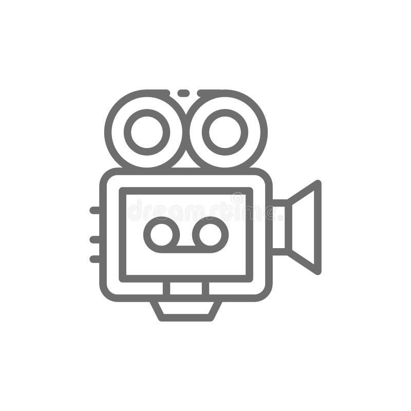Movie camera with film strip, camcorder, retro cinema projector line icon. stock illustration