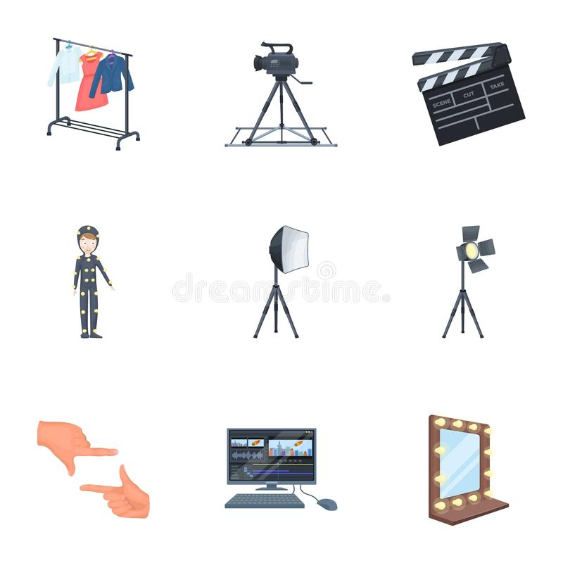 A movie camera, a floodlight, a chromakey and other equipment for the cinema.Making movie set collection icons in royalty free illustration
