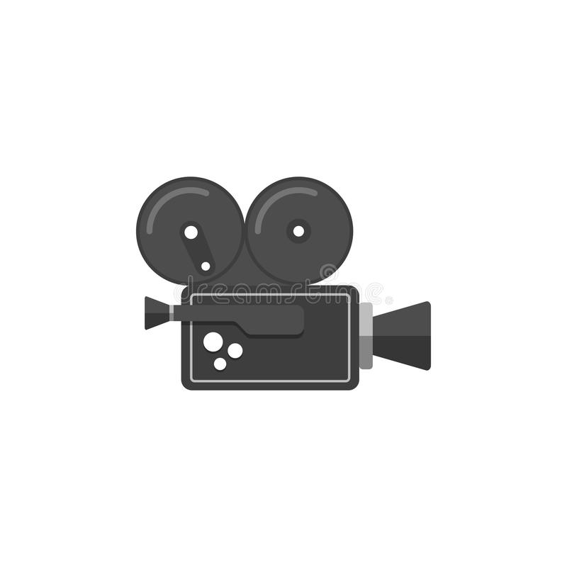 Movie camera icon in flat style. stock illustration