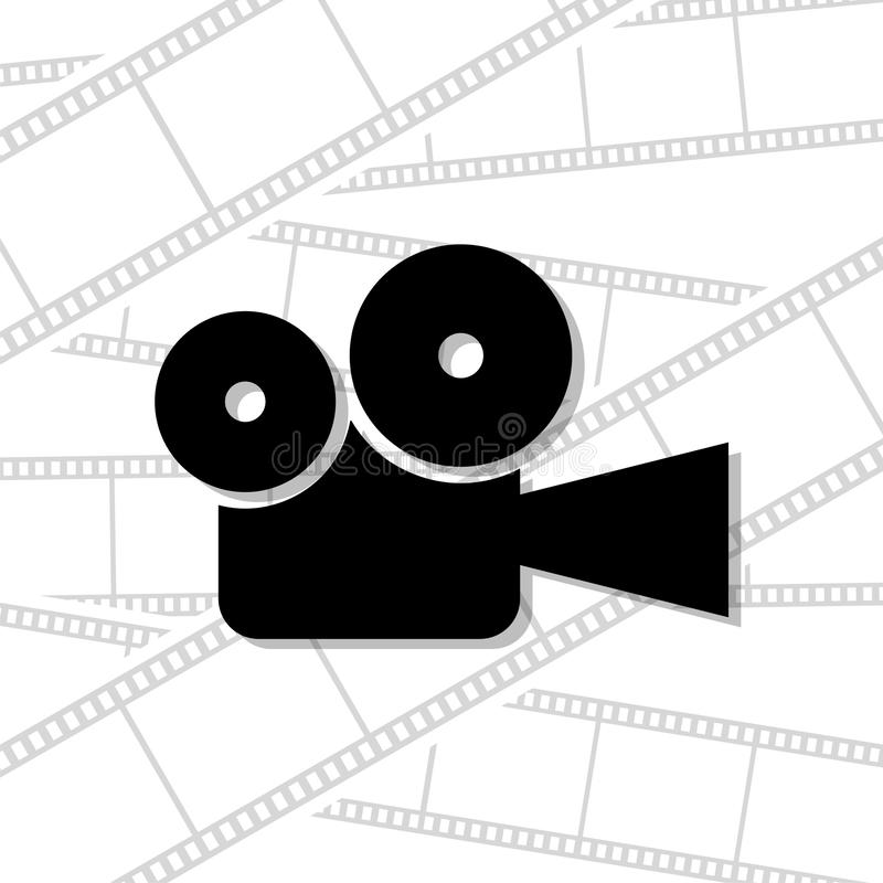 Movie camera icon on white background royalty free illustration