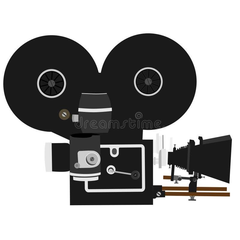 Movie camera. Old, vintage movie camera isolated, old film camera, old video camera royalty free illustration