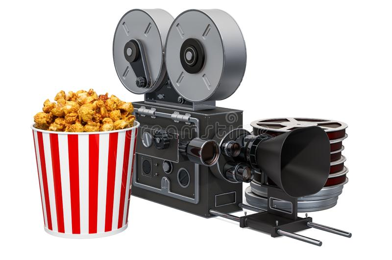 Movie camera with popcorn container. Cinema concept, 3D rendering vector illustration