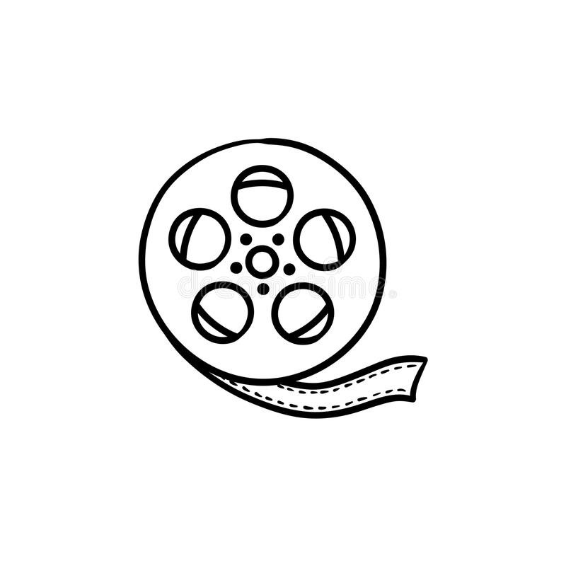 Movie camera reel hand drawn outline doodle icon. vector illustration