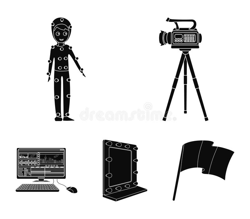 A movie camera, a suit for special effects and other equipment. Making movies set collection icons in black style vector. Symbol stock illustration royalty free illustration