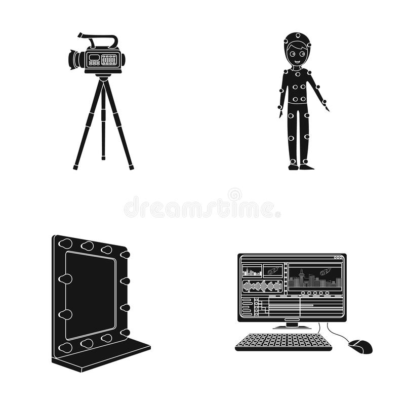 A movie camera, a suit for special effects and other equipment. Making movies set collection icons in black style vector stock illustration
