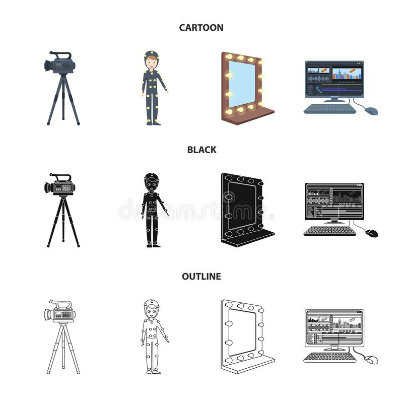 A movie camera, a suit for special effects and other equipment. Making movies set collection icons in cartoon,black. Outline style vector symbol stock stock illustration