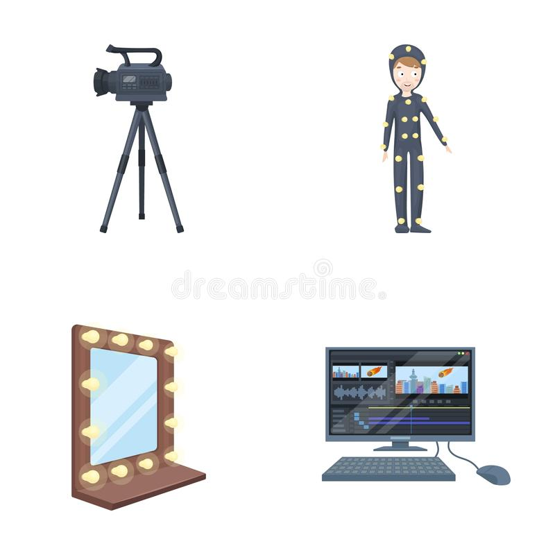 A movie camera, a suit for special effects and other equipment. Making movies set collection icons in cartoon style. Vector symbol stock illustration vector illustration