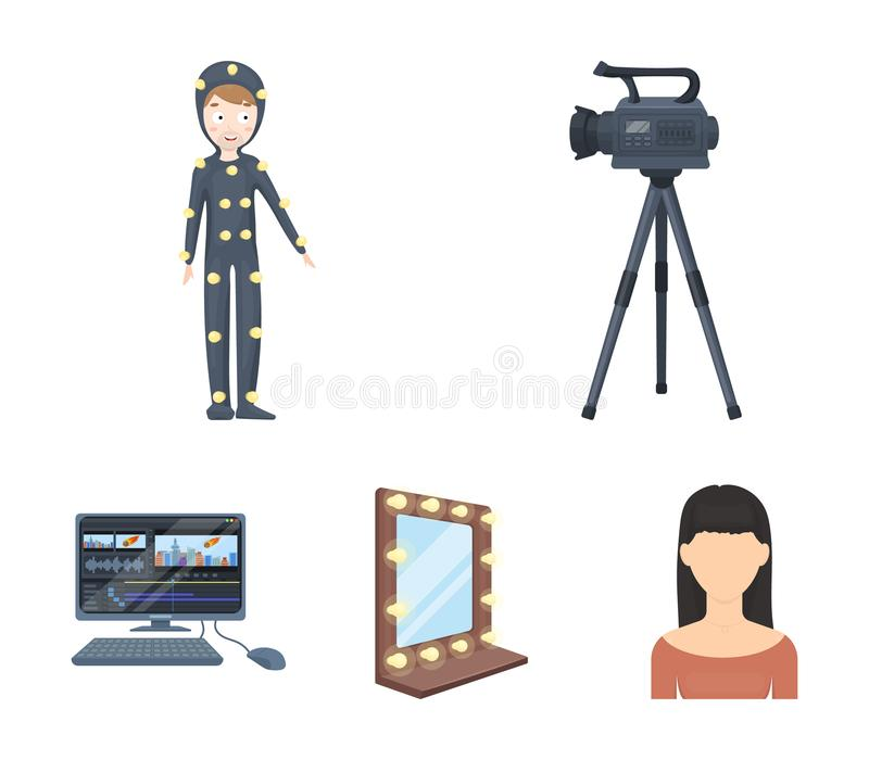 A movie camera, a suit for special effects and other equipment. Making movies set collection icons in cartoon style. Vector symbol stock illustration stock illustration