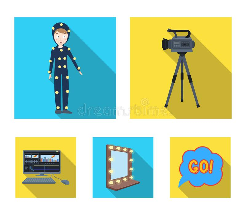 A movie camera, a suit for special effects and other equipment. Making movies set collection icons in flat style vector. Symbol stock illustration royalty free illustration