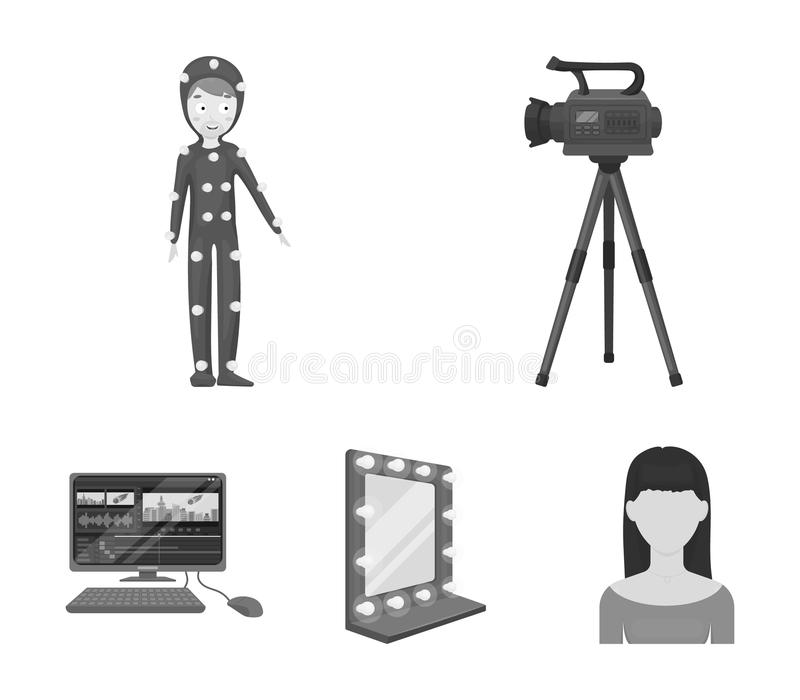 A movie camera, a suit for special effects and other equipment. Making movies set collection icons in monochrome style. Vector symbol stock illustration royalty free illustration