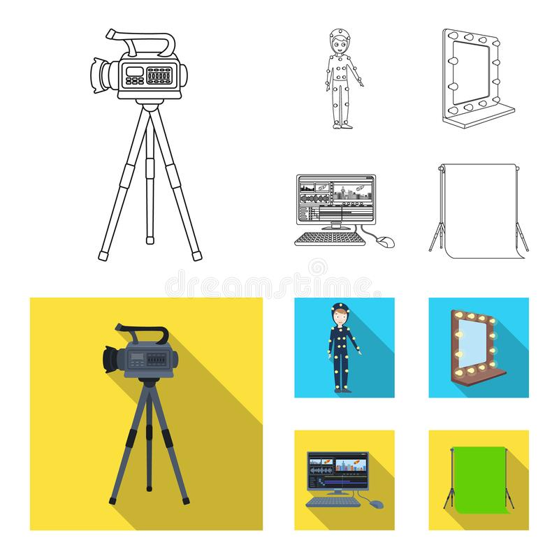 A movie camera, a suit for special effects and other equipment. Making movies set collection icons in outline,flat style. Vector symbol stock illustration vector illustration
