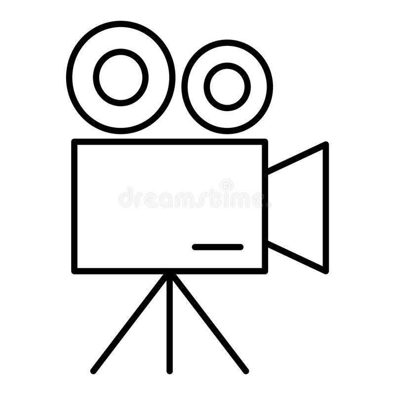 Movie camera thin line icon. Video camera vector illustration isolated on white. Camcorder outline style design royalty free illustration