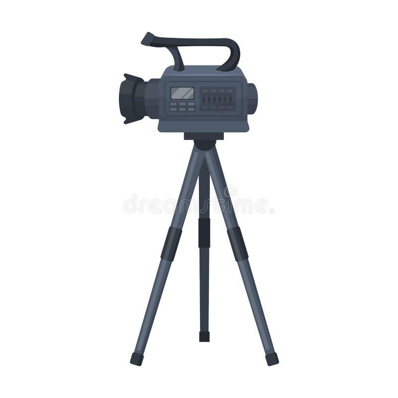 Movie camera on a tripod. Making a movie single icon in cartoon style vector symbol stock illustration web. royalty free illustration