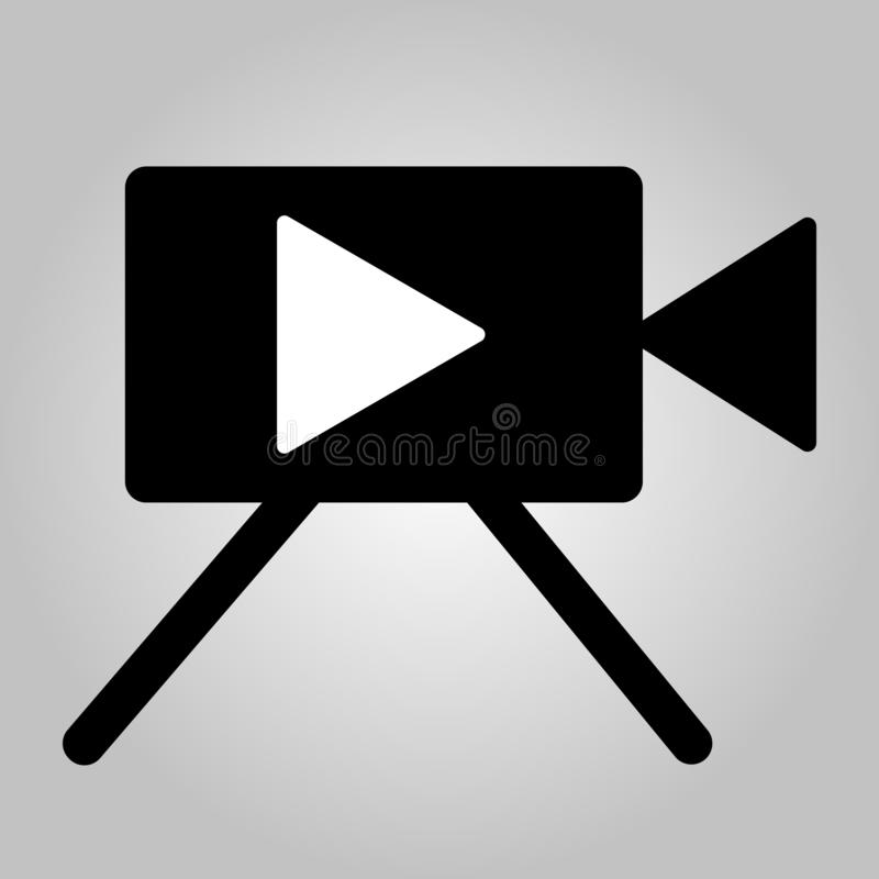 Movie camera vector icon, isolated object on white background stock illustration