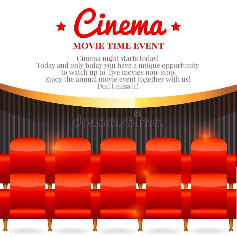 Movie card with chairs in cinema hall royalty free illustration