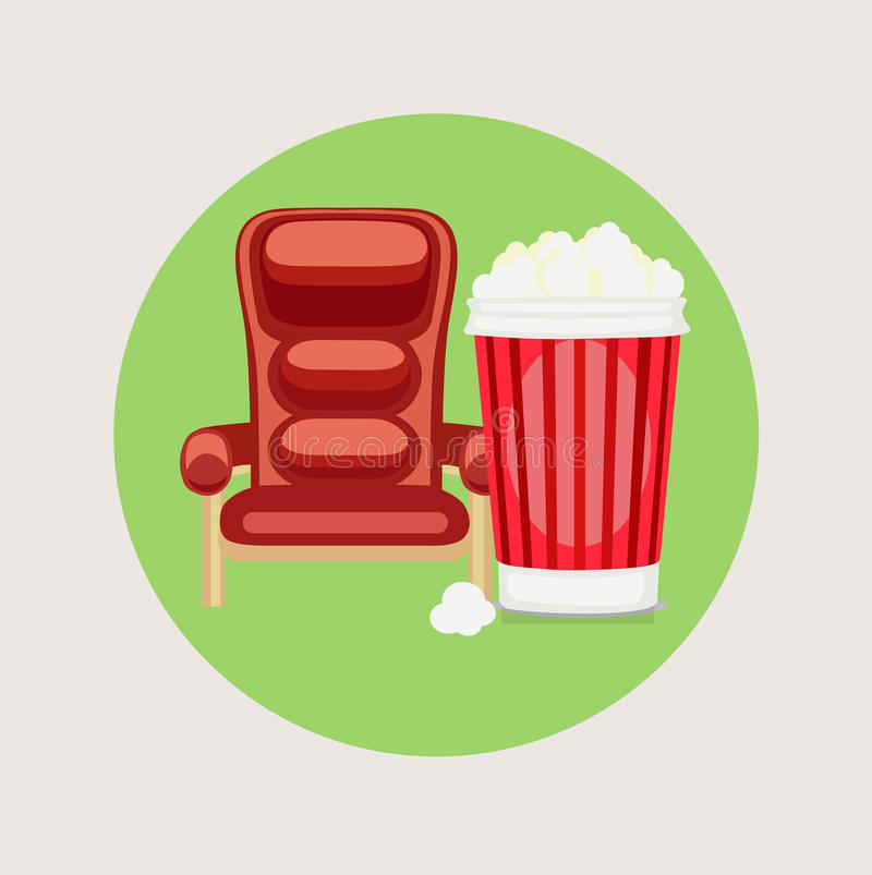 Movie chair and popcorn flat design vector illustration
