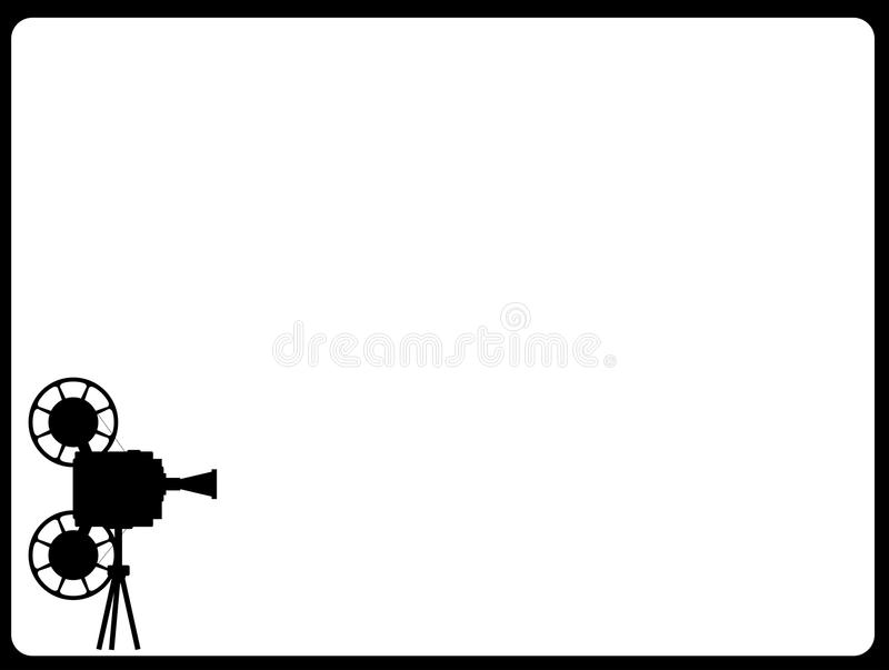Movie Cine Projector Backdrop. A mocie cinema ine projector silhouette with copy space as a screen stock illustration