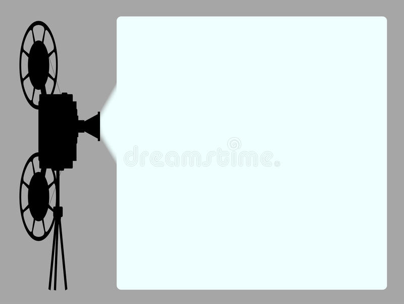 Movie Cine Projector Background. A movie cinema cine projector silhouette with projection beam with copy space vector illustration