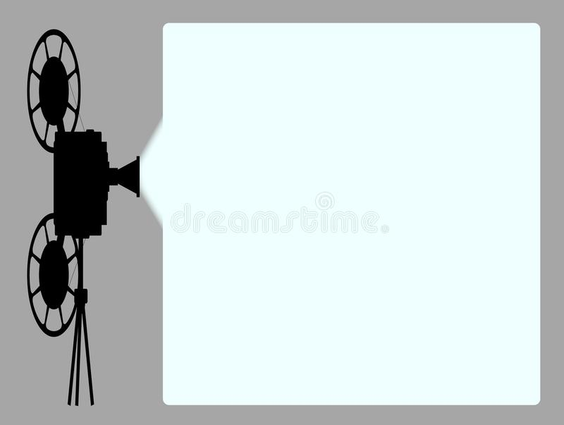Movie Cine Projector Background. A movie cinema cine projector silhouette with projection beam with copy space stock illustration