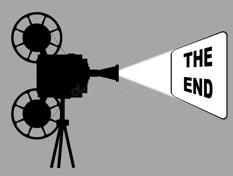 Movie Cine Projector The End. A mocie cinema ine projector silhouette with white beam showing the end royalty free illustration