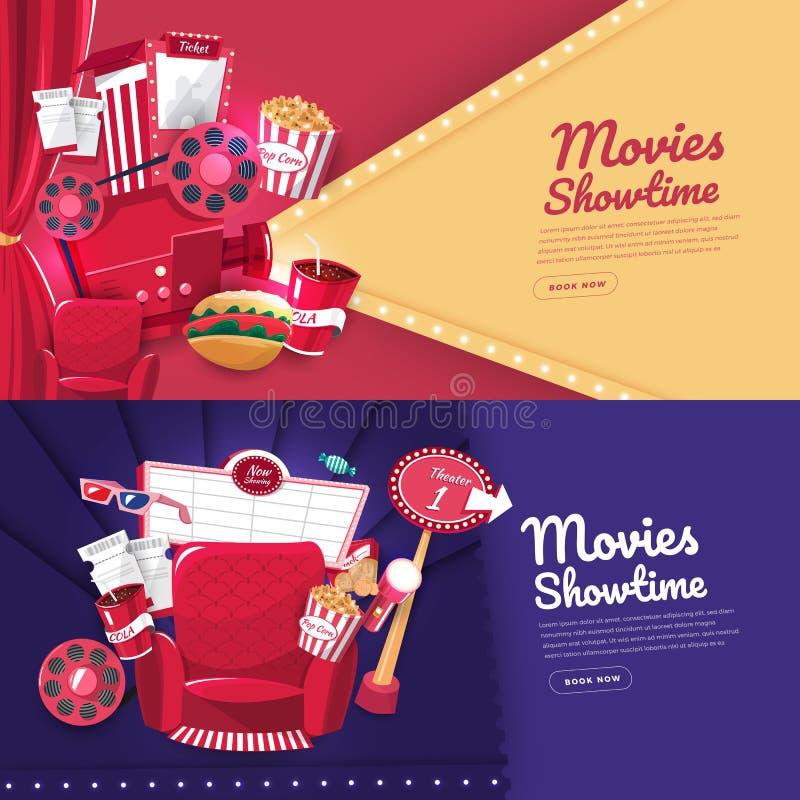 Movie cinema banner design. Flat design concept movie cinema show time and theater. Banner website template poster brochure layout design. Vector illustrations stock illustration