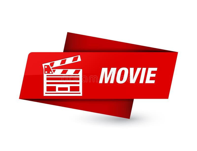 Movie (cinema clip icon) premium red tag sign stock illustration