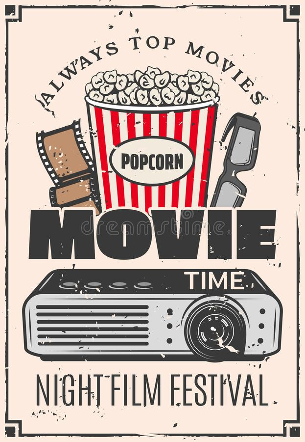 Movie cinema 3D glasses and popcorn. Movie retro advertisement, cinema bar bistro snacks menu. Vector vintage design of popcorn bucket, 3D glasses and film with vector illustration