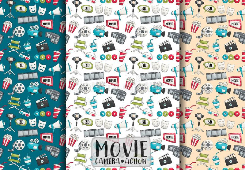 Movie cinema design. Seamless pattern set. Film theme background paper. royalty free illustration