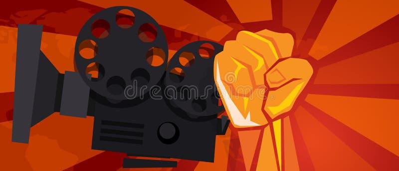 Movie cinema entertainment rebel political hand fist revolution symbol retro communism propaganda poster style. Vector stock illustration