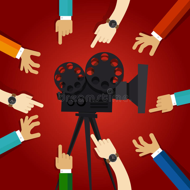 Movie cinema entertainment together friendship hands to retro projector teamwork working on video production. Vector royalty free illustration