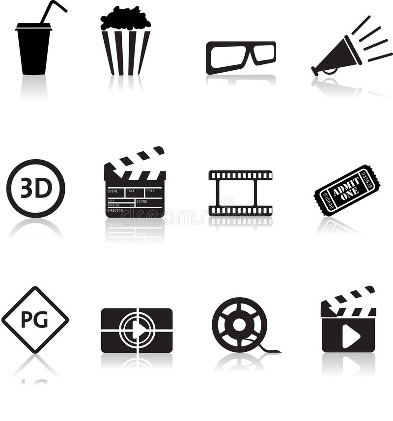 Movie and cinema icon set royalty free illustration