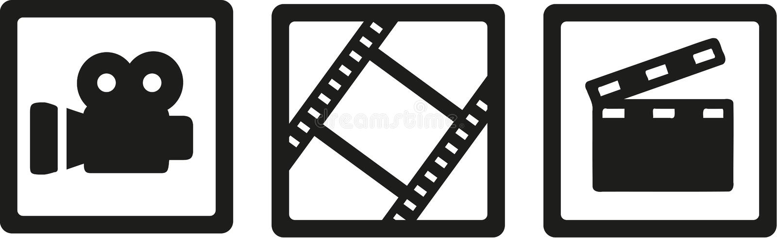 Movie cinema icons - camera, film reel and clapperboard stock illustration