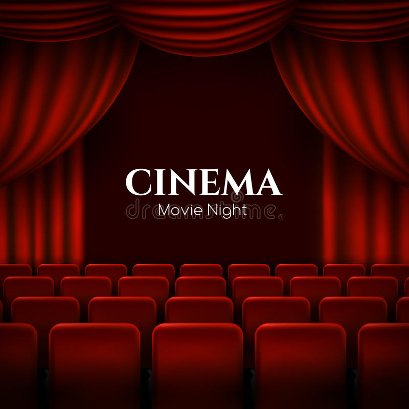 Movie cinema premiere poster design with red curtains. Vector banner. stock illustration
