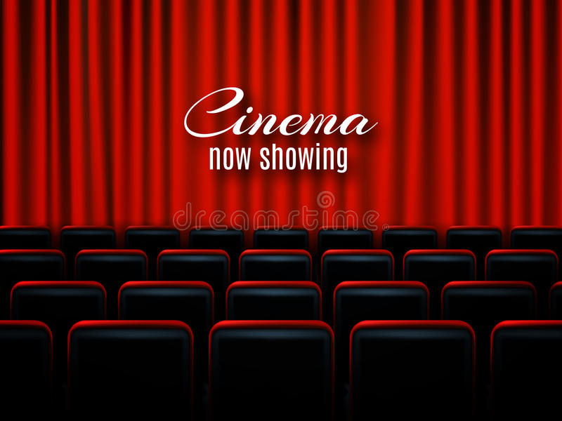 Movie cinema premiere poster design with red curtains. Vector banner. royalty free illustration