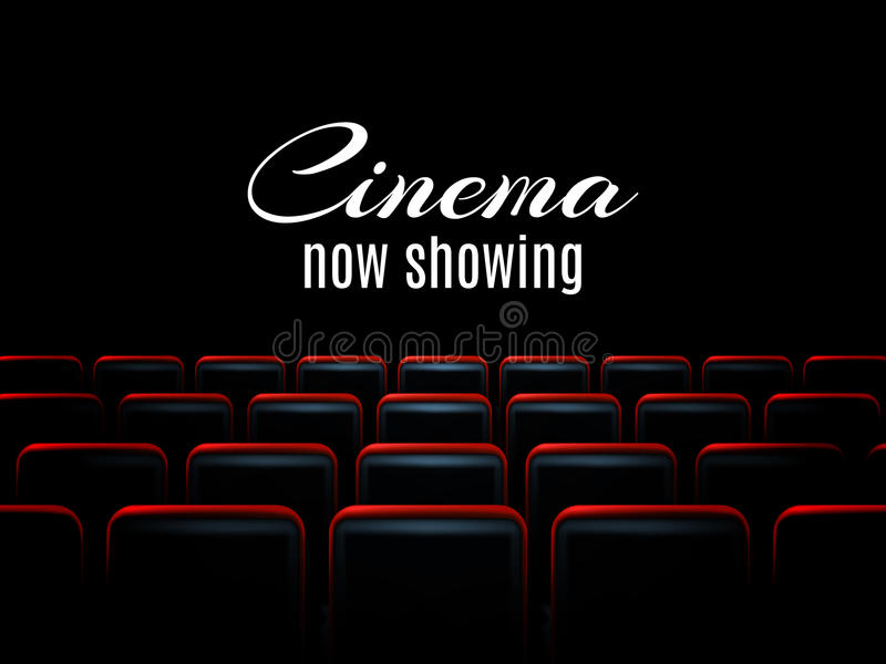 Movie cinema premiere poster design with red seats. Vector background. royalty free illustration