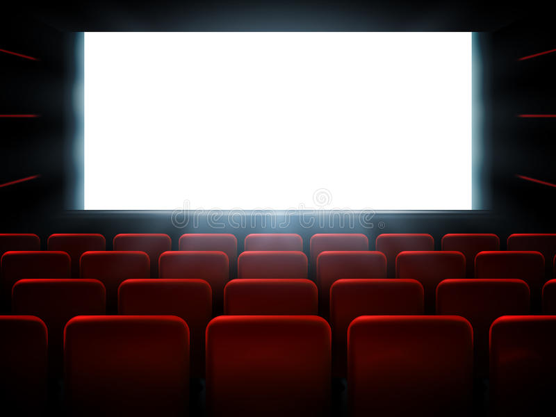 Movie cinema premiere poster design with white screen. Vector background. royalty free illustration
