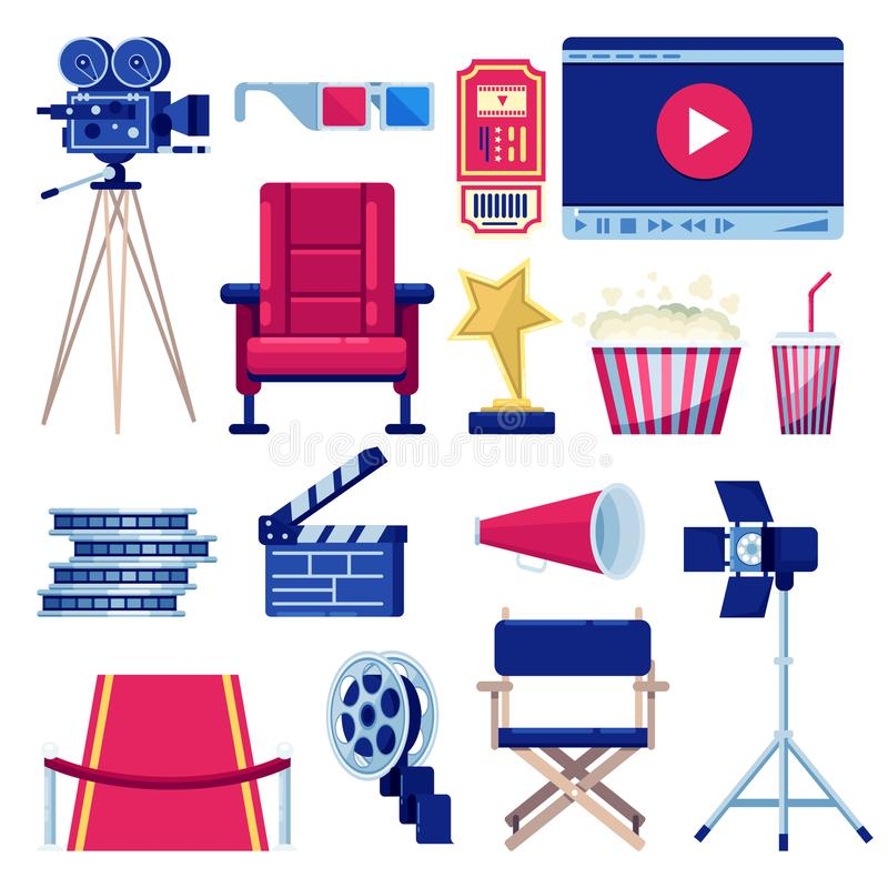 Movie and cinema theater vector flat icons set. Video and film production design elements. Multimedia maker equipment. Isolated on white background royalty free illustration