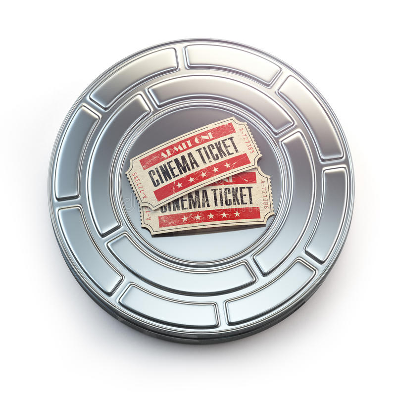 Movie, cinema or video vintage concept. Tickets on retro film re. El or canister. 3d illustration royalty free illustration