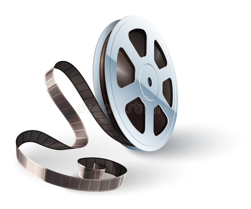 Movie cinematography video film disk with tape. For classic vintage cinema theatre. Vector illustration. On white background vector illustration