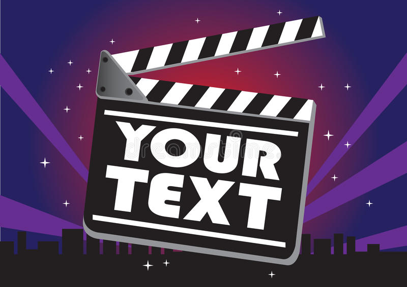 Movie clap board. Vector illustration of movie clap board against a night city skyline vector illustration