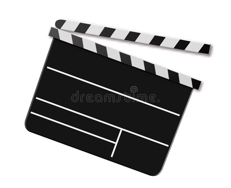 Movie Clap Board. Hollywood movie clap board isolated against a white background stock illustration