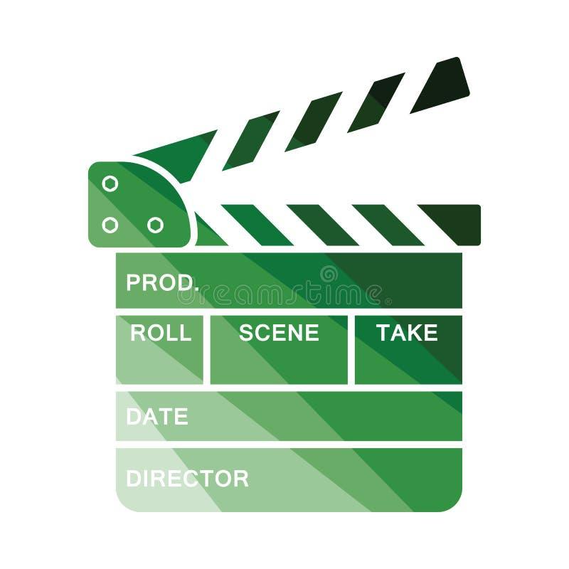 Movie clap board icon. Flat color design. Vector illustration stock illustration