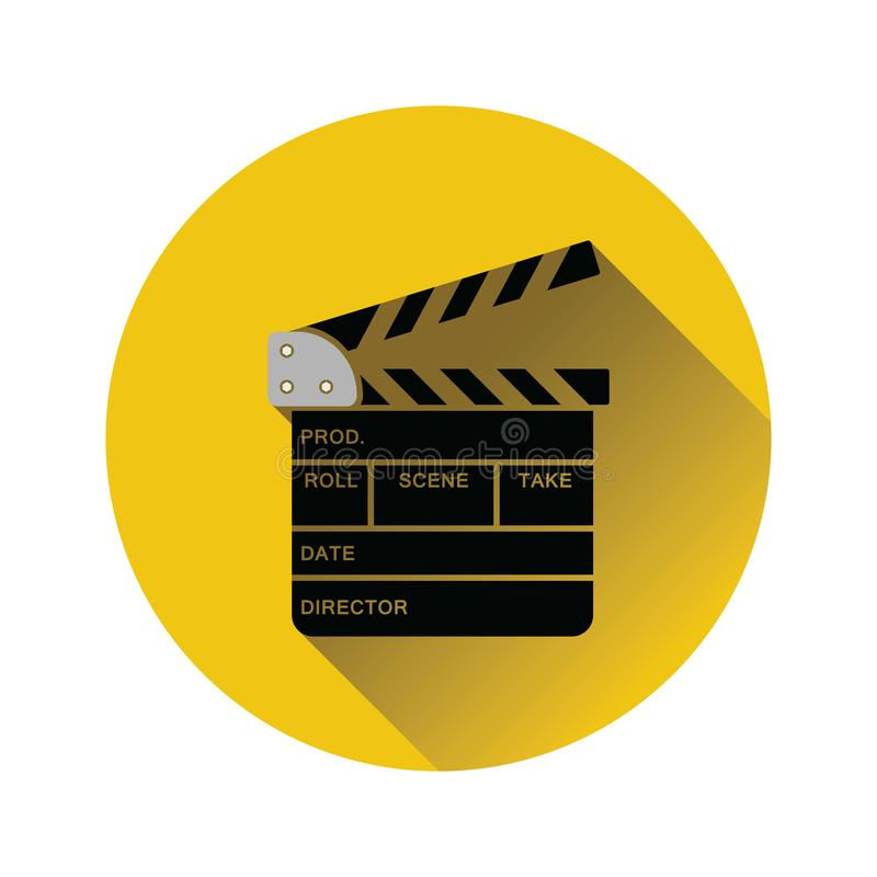 Movie clap board icon. On gray background, round shadow. Vector illustration vector illustration