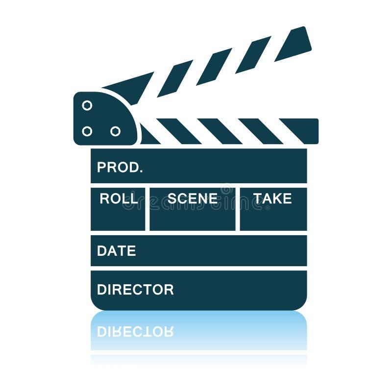 Movie Clap Board Icon. Shadow Reflection Design. Vector Illustration vector illustration