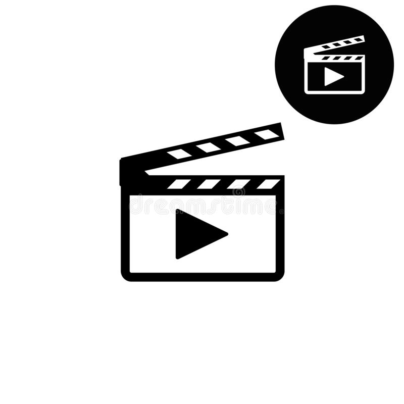 Movie clap - white vector icon. Movie clap design icon or logos for business, web stock illustration