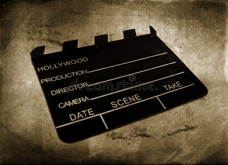 Movie clapboard. Used by movie directors over vintage background stock illustration