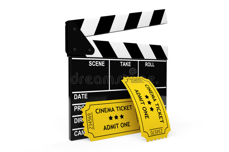 Movie clapper board and admit one tickets royalty free illustration