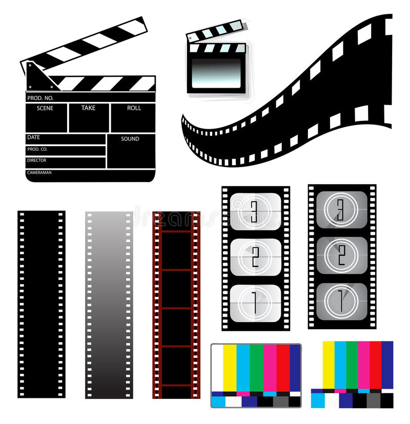Movie clapper board and filmstrip royalty free illustration
