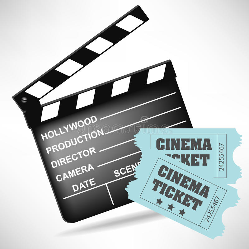 Movie clapper board and movie tickets vector illustration