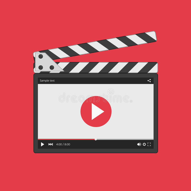 Movie clapper board with video player. Movie clapper board with video player interface. Slate clapper board. Director clapperboard on red background. Flat style royalty free illustration